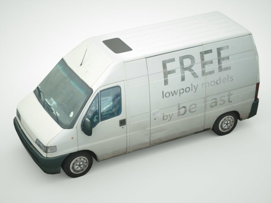 Fiat Ducato 1999 royalty-free 3d model - Preview no. 3