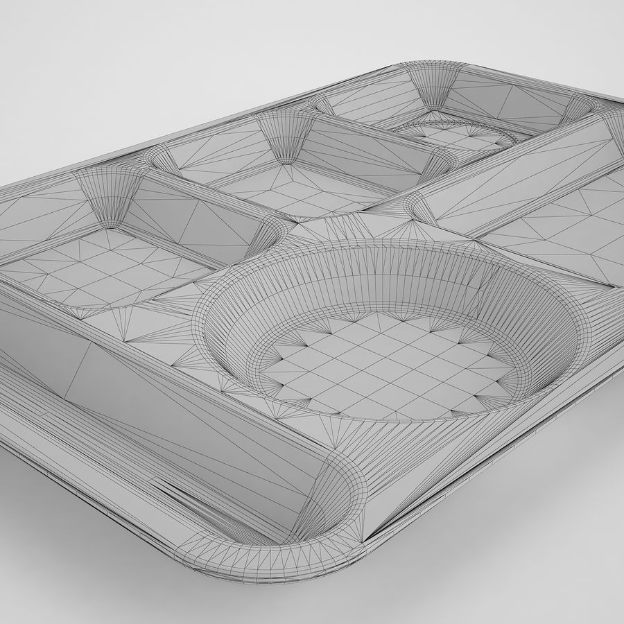 Lunch Food Tray 01 Black royalty-free 3d model - Preview no. 16