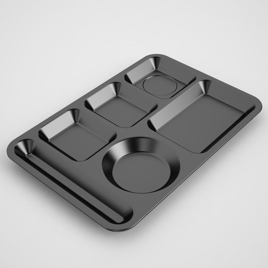Lunch Food Tray 01 Black royalty-free 3d model - Preview no. 2