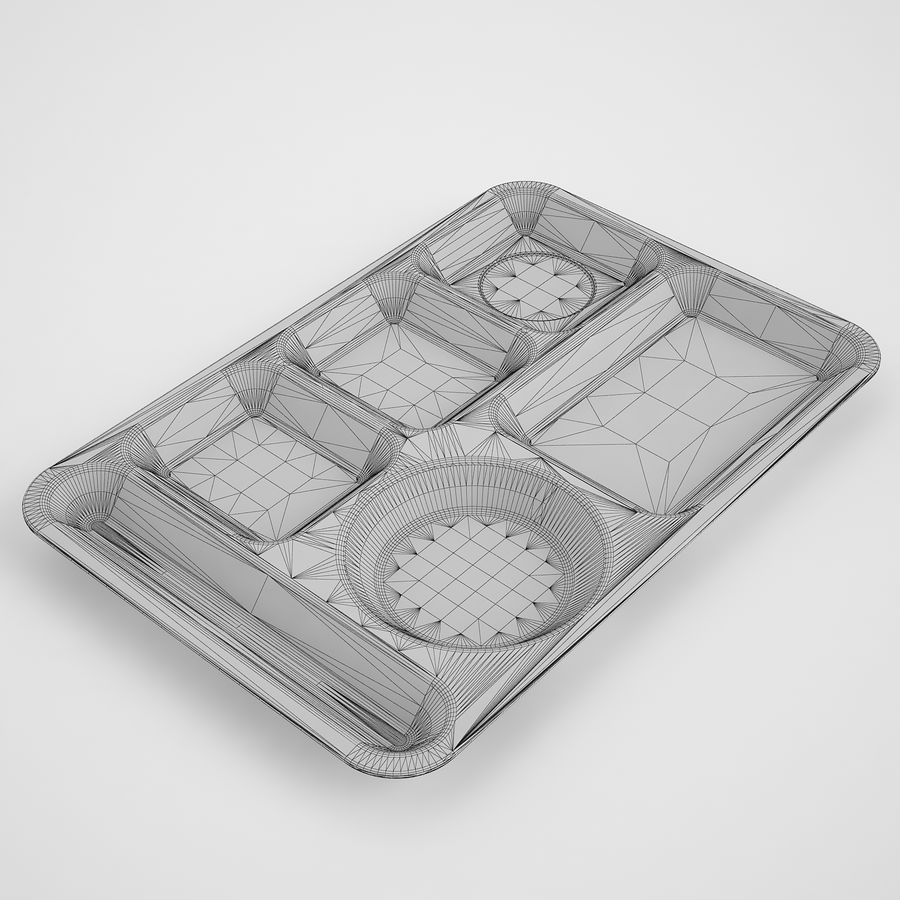 Lunch Food Tray 01 Black royalty-free 3d model - Preview no. 3