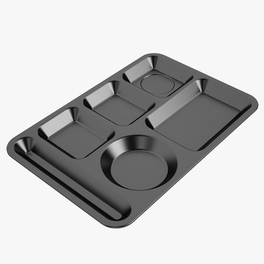 Lunch Food Tray 01 Black royalty-free 3d model - Preview no. 1