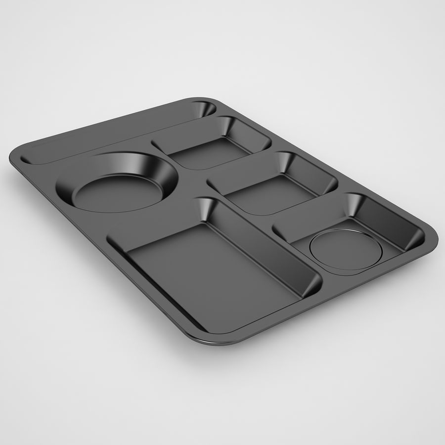 Lunch Food Tray 01 Black royalty-free 3d model - Preview no. 5