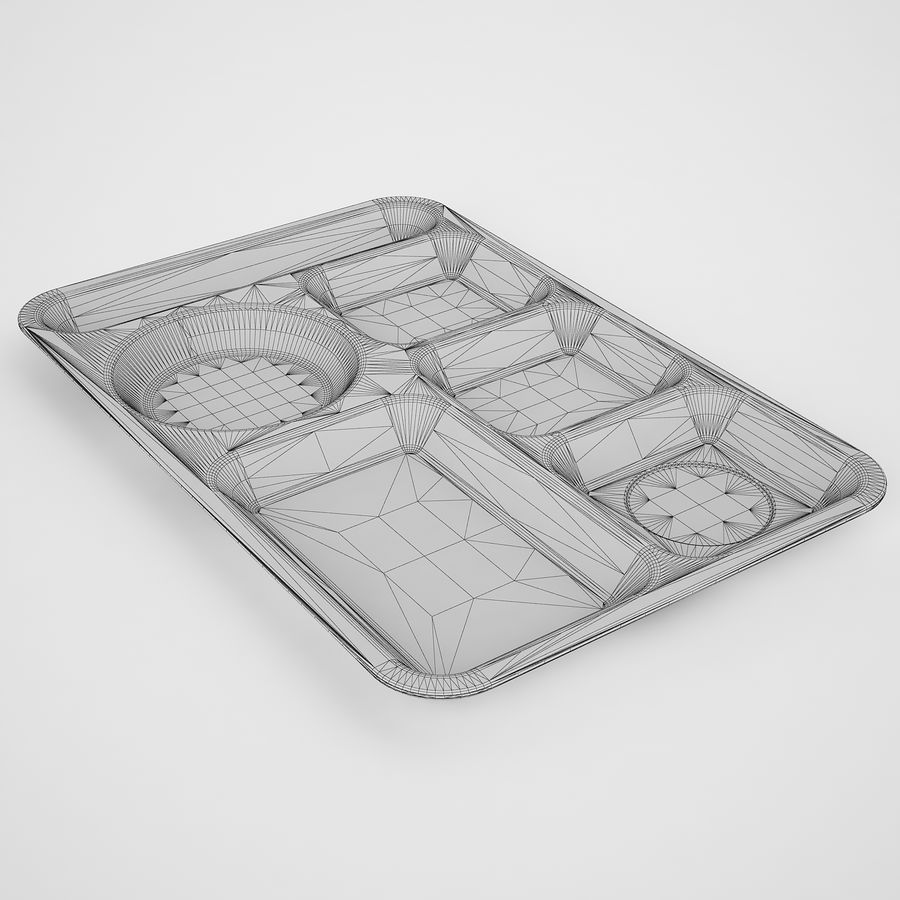 Lunch Food Tray 01 Black royalty-free 3d model - Preview no. 6