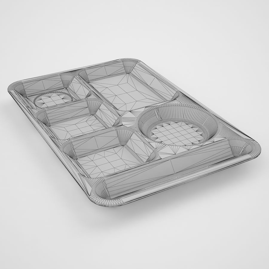 Lunch Food Tray 01 Black royalty-free 3d model - Preview no. 10