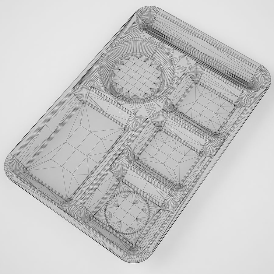 Lunch Food Tray 01 Black royalty-free 3d model - Preview no. 8