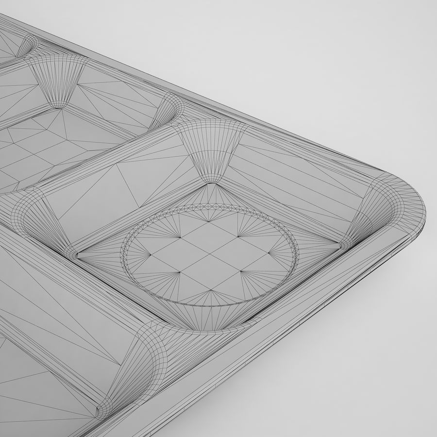 Lunch Food Tray 01 Black royalty-free 3d model - Preview no. 14