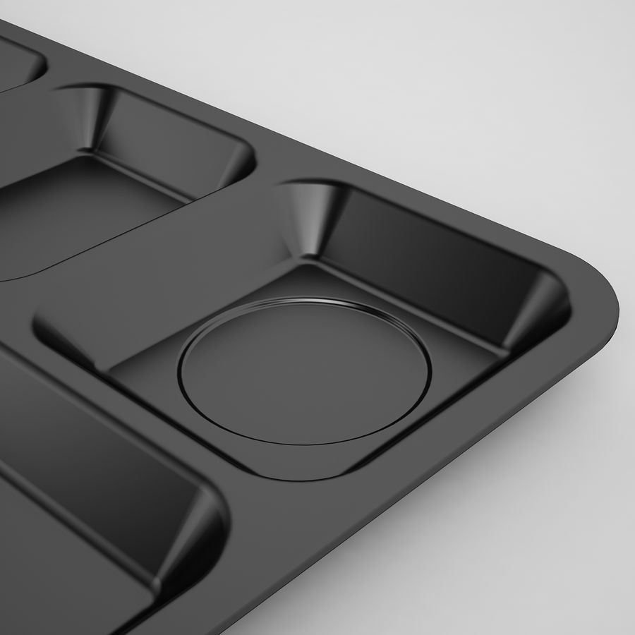 Lunch Food Tray 01 Black royalty-free 3d model - Preview no. 13