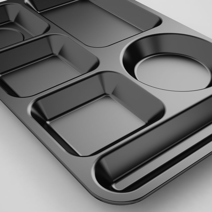 Lunch Food Tray 01 Black royalty-free 3d model - Preview no. 17