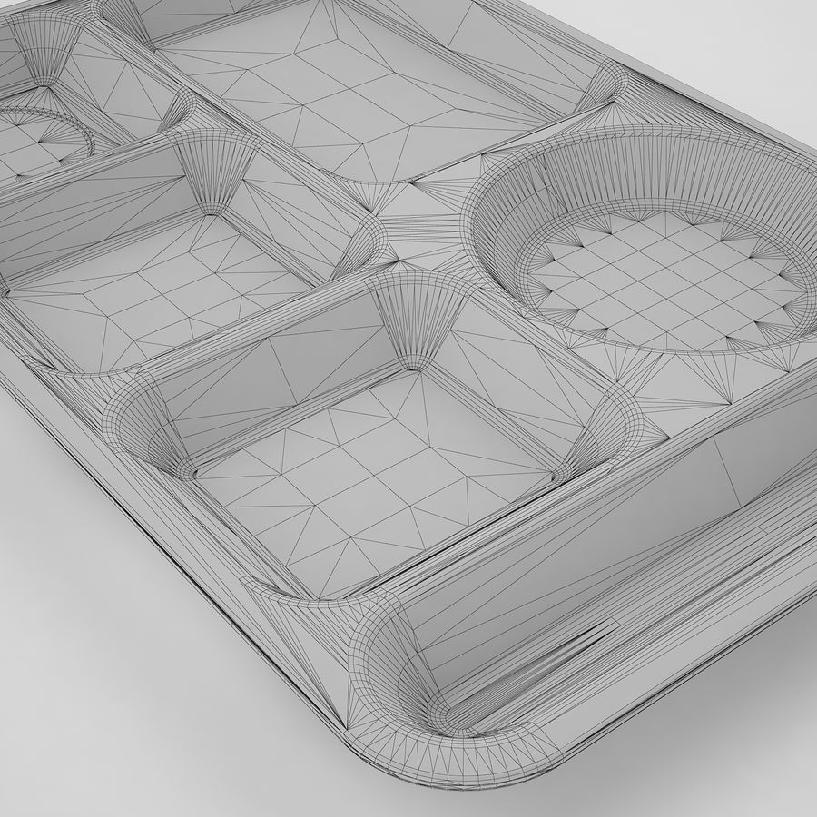 Lunch Food Tray 01 Black royalty-free 3d model - Preview no. 18