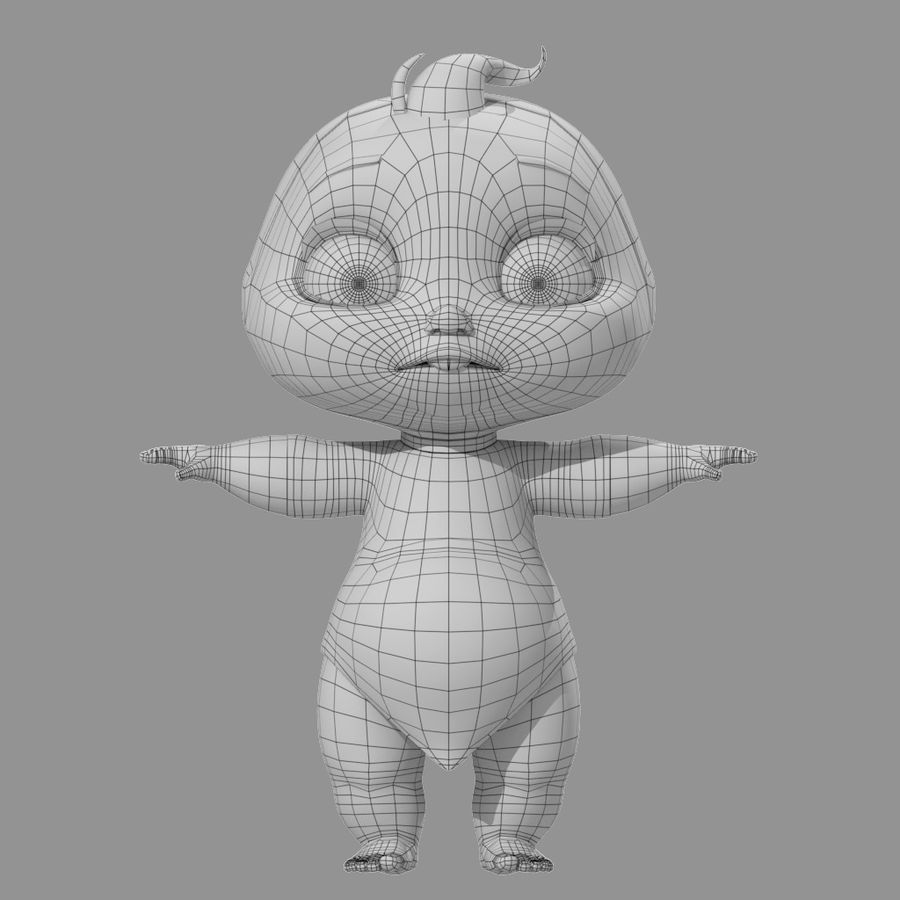 Bébé de bande dessinée royalty-free 3d model - Preview no. 5