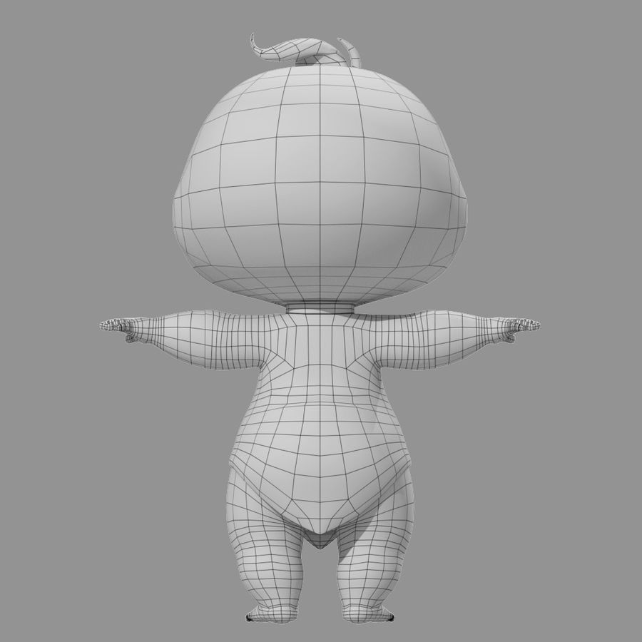 Bébé de bande dessinée royalty-free 3d model - Preview no. 8