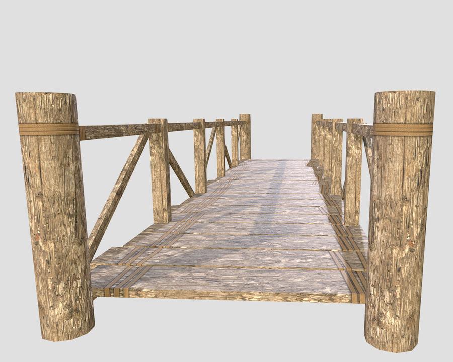 Wooden modular bridge lowpoly royalty-free 3d model - Preview no. 2