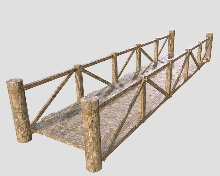 Wooden modular bridge lowpoly royalty-free 3d model - Preview no. 1