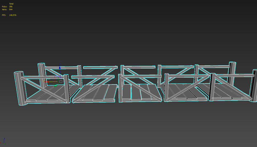 Wooden modular bridge lowpoly royalty-free 3d model - Preview no. 8