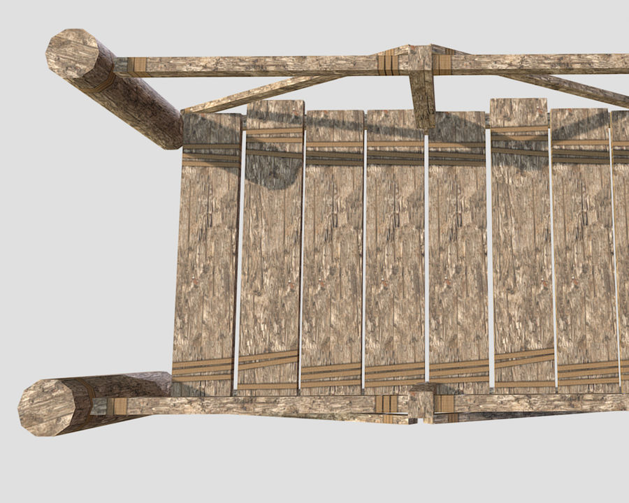 Wooden modular bridge lowpoly royalty-free 3d model - Preview no. 5