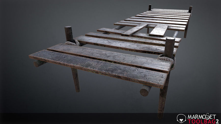 Wooden Pier PBR Game Ready royalty-free 3d model - Preview no. 2