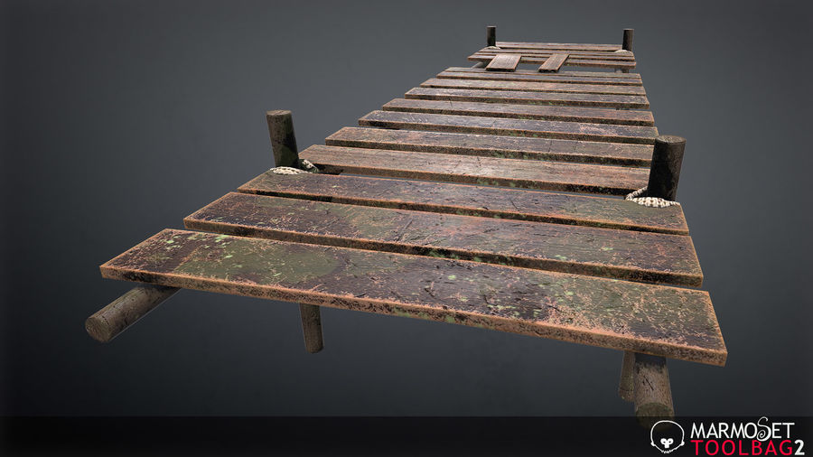 Wooden Pier PBR Game Ready royalty-free 3d model - Preview no. 4