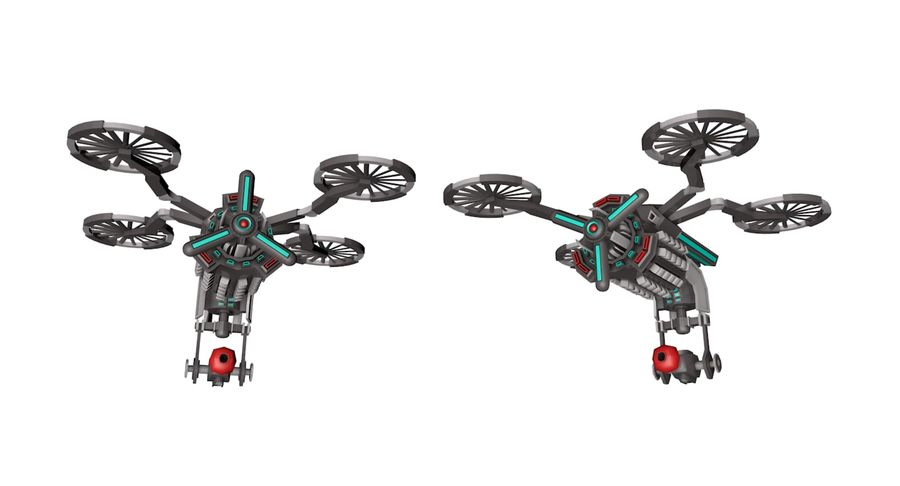 Sci-Fi Drone royalty-free 3d model - Preview no. 3