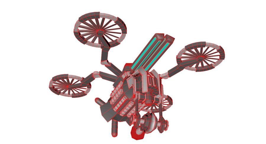 Sci-Fi Drone royalty-free 3d model - Preview no. 13