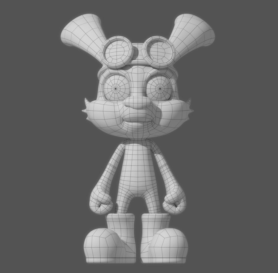 Cartoon Rabbit royalty-free 3d model - Preview no. 5