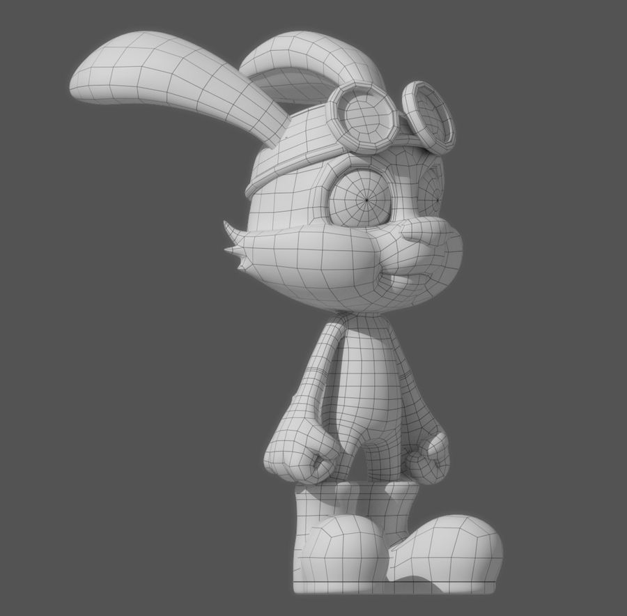 Cartoon Rabbit royalty-free 3d model - Preview no. 8