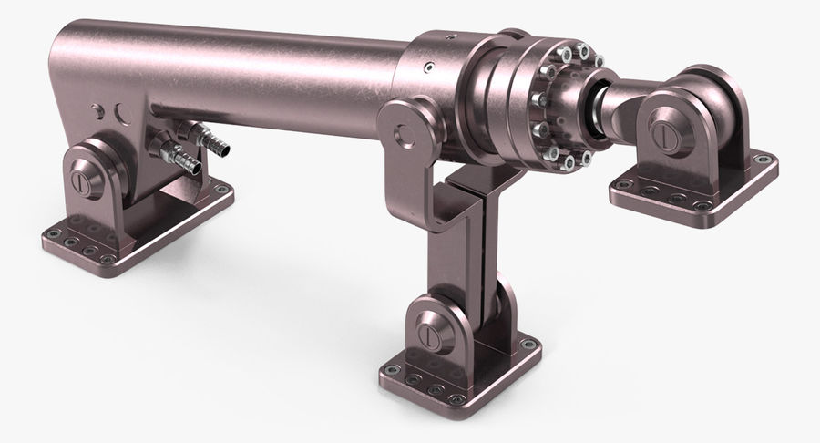 Anodized Hydraulic Cylinder 8 royalty-free 3d model - Preview no. 9