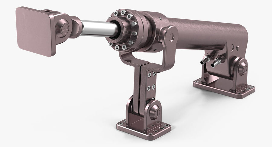 Anodized Hydraulic Cylinder 8 royalty-free 3d model - Preview no. 2