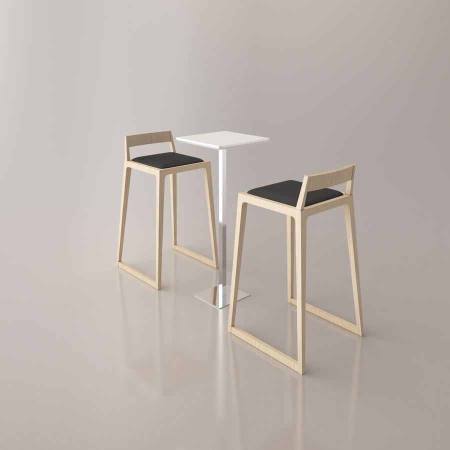 Sedia e tavolo da bar royalty-free 3d model - Preview no. 3