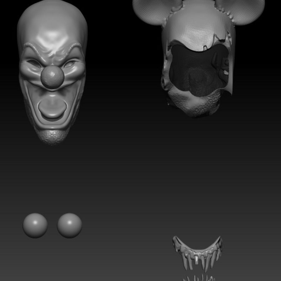 clown scary head royalty-free 3d model - Preview no. 7