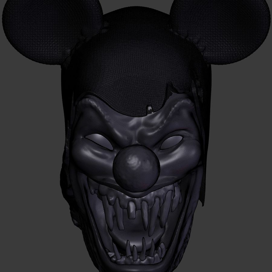 clown scary head royalty-free 3d model - Preview no. 4