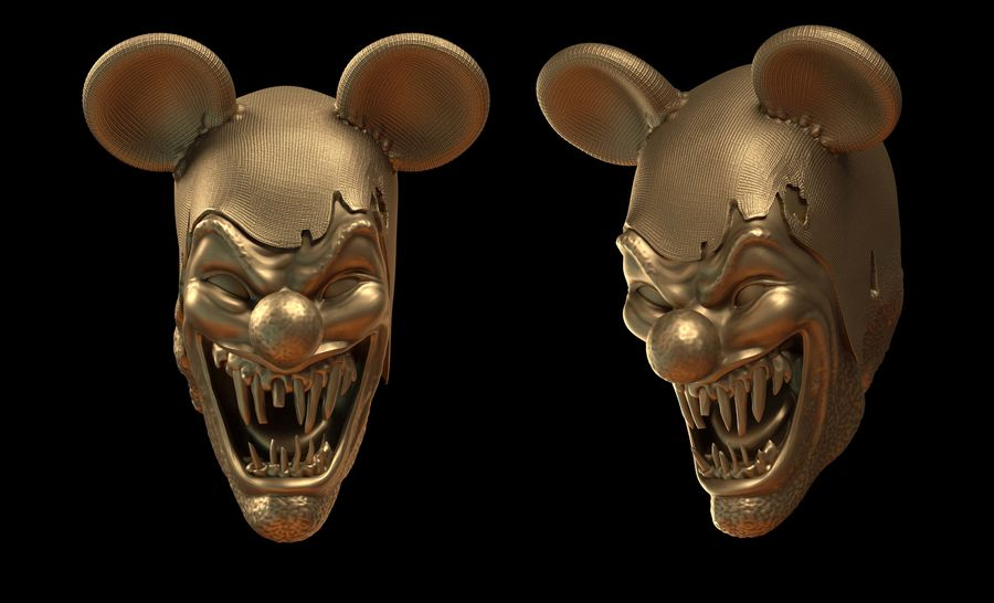 clown scary head royalty-free 3d model - Preview no. 1