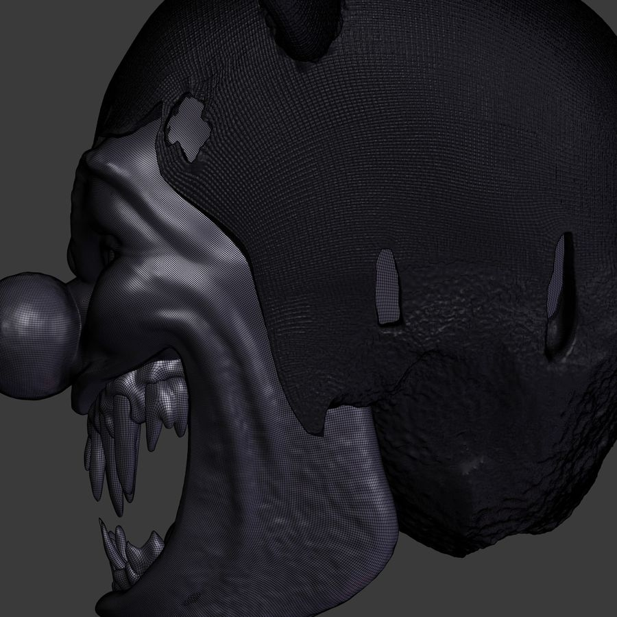 clown scary head royalty-free 3d model - Preview no. 5