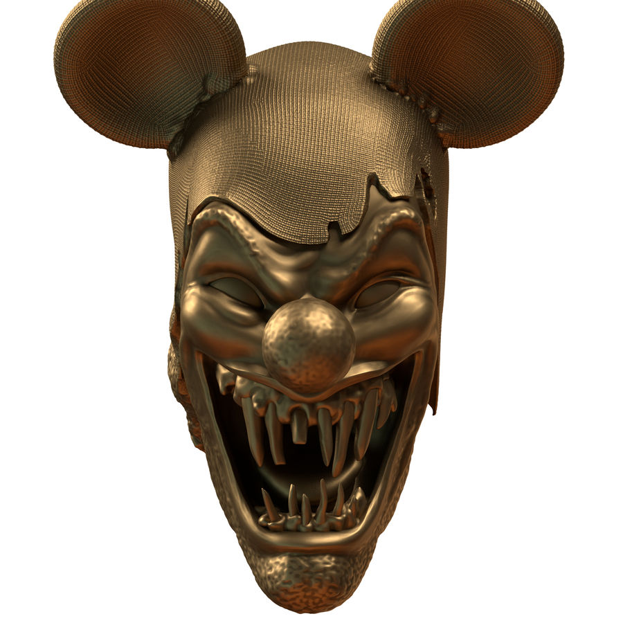 clown scary head royalty-free 3d model - Preview no. 2