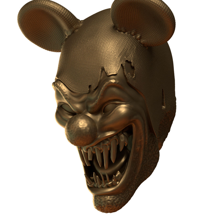 clown scary head royalty-free 3d model - Preview no. 3