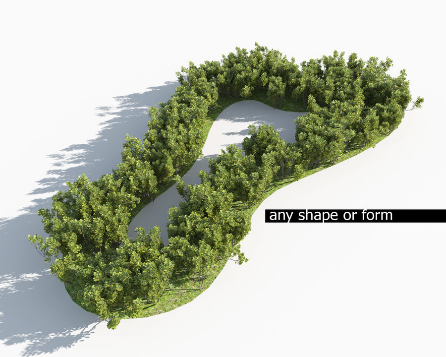 Multiscatter Bushes royalty-free 3d model - Preview no. 6