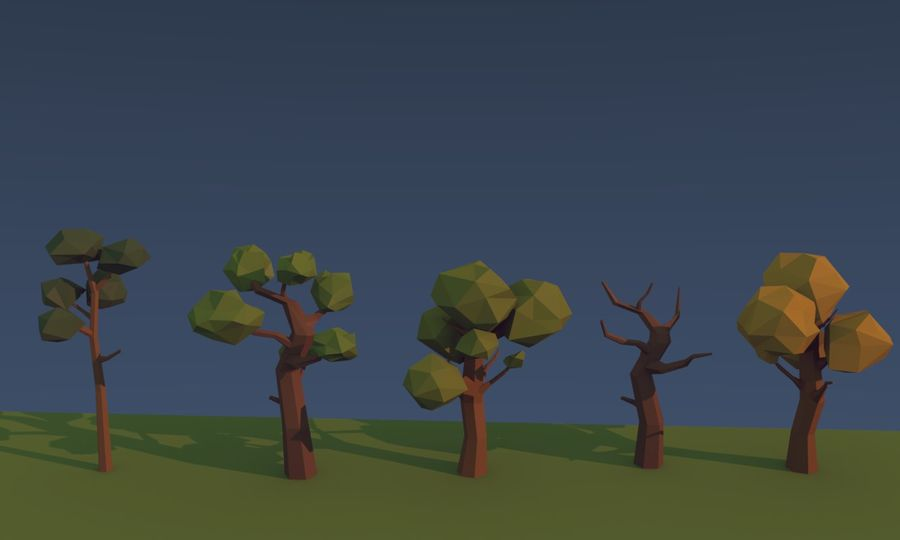 Low poly trees royalty-free 3d model - Preview no. 5