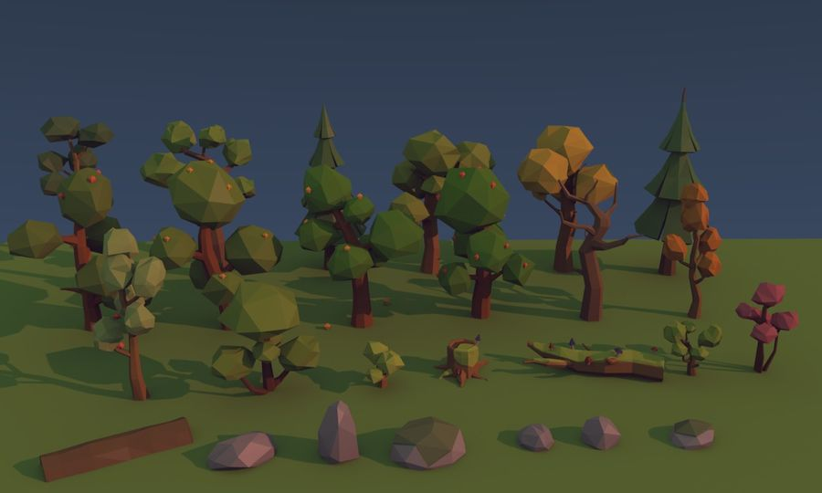 Low poly trees royalty-free 3d model - Preview no. 1