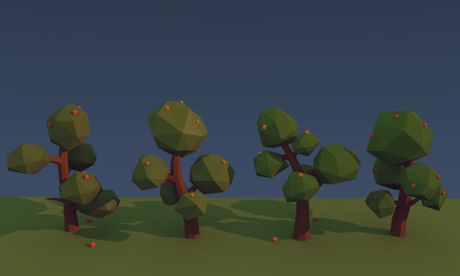 Low poly trees royalty-free 3d model - Preview no. 4