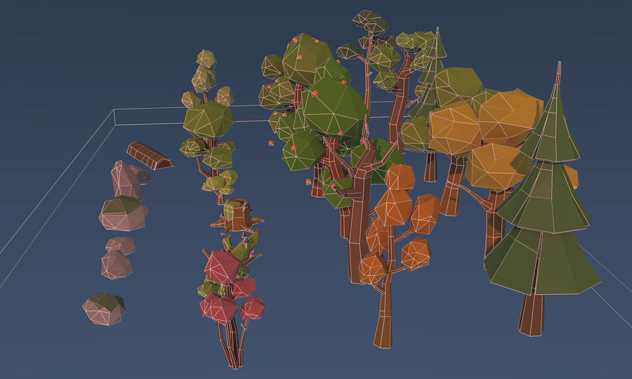 Low poly trees royalty-free 3d model - Preview no. 10