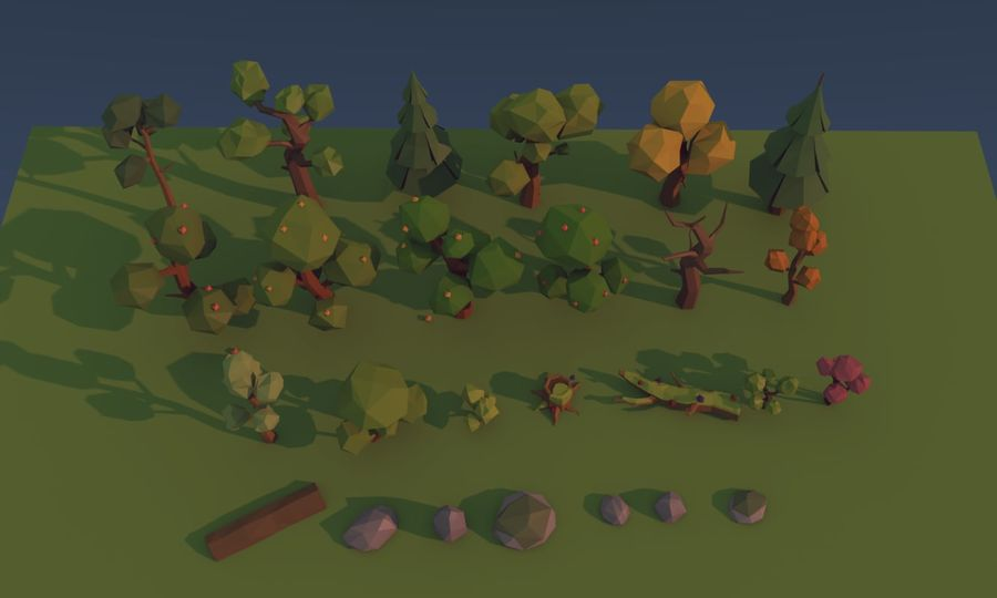 Low poly trees royalty-free 3d model - Preview no. 3