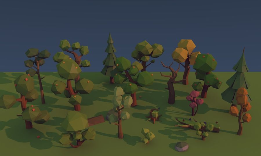 Low poly trees royalty-free 3d model - Preview no. 6