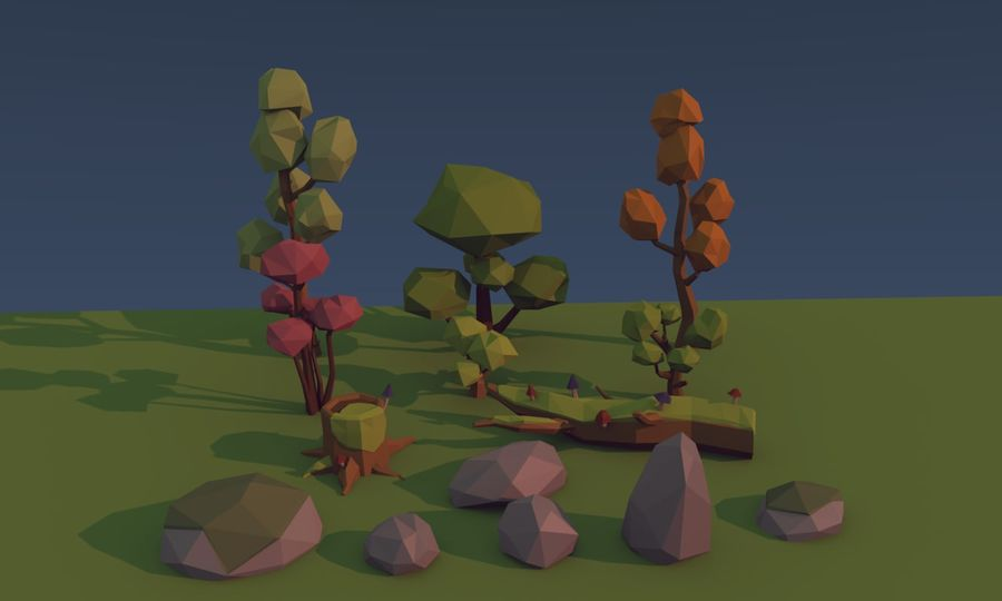Low poly trees royalty-free 3d model - Preview no. 2