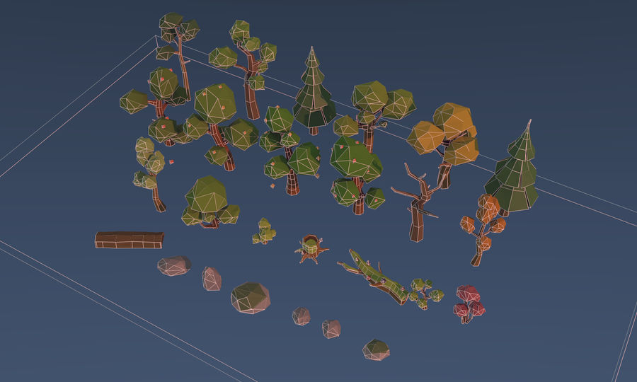 Low poly trees royalty-free 3d model - Preview no. 9