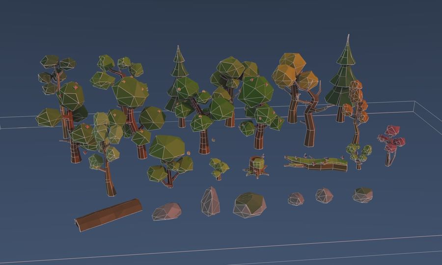 Low poly trees royalty-free 3d model - Preview no. 7