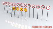 Speed limit Road signs 3d model