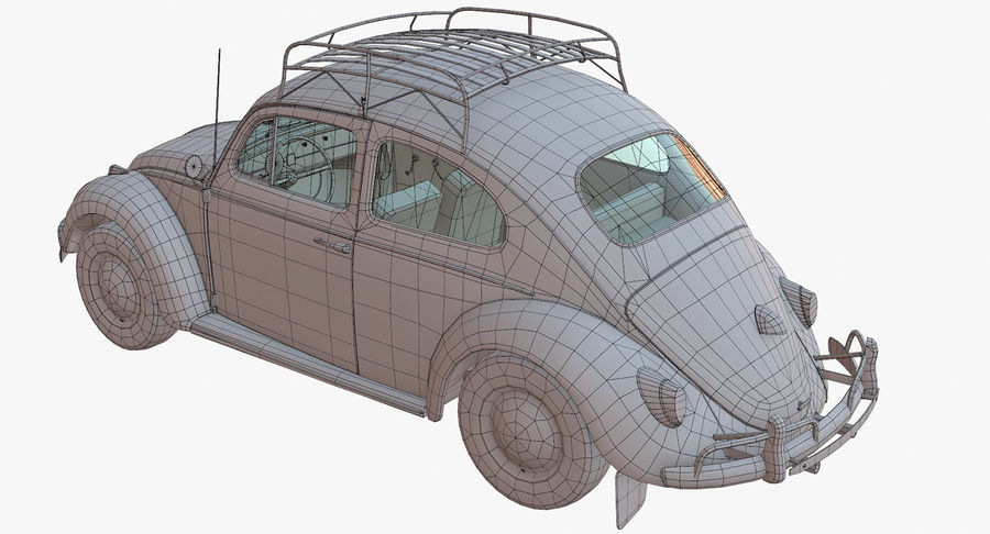 Volkswagen Beetle Classic Low Poly royalty-free 3d model - Preview no. 16
