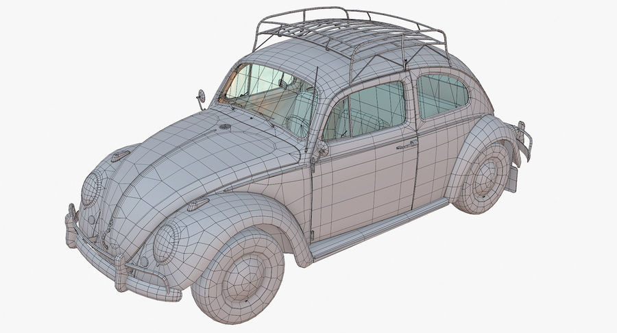 Volkswagen Beetle Classic Low Poly royalty-free 3d model - Preview no. 13