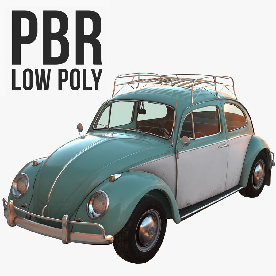 Volkswagen Beetle Classic Low Poly royalty-free 3d model - Preview no. 1