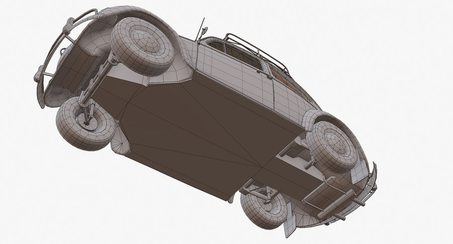 Volkswagen Beetle Classic Low Poly royalty-free 3d model - Preview no. 17
