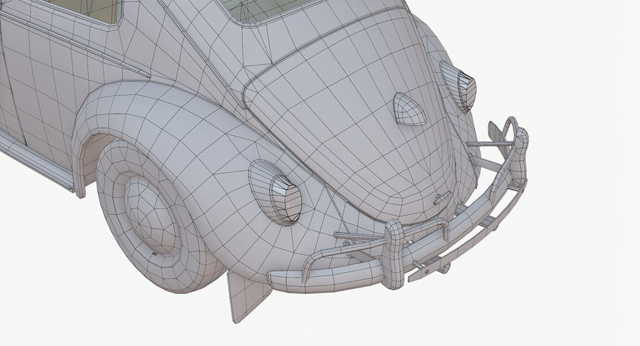 Volkswagen Beetle Classic Low Poly royalty-free 3d model - Preview no. 19